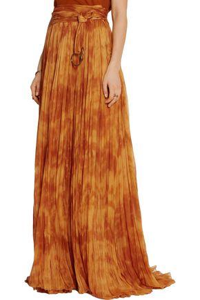 ROBERTO CAVALLI Tie-dyed plissé silk-chiffon maxi skirt