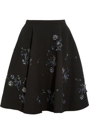 MIU MIU Embellished wool-crepe skirt
