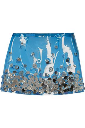 MIU MIU Embellished PU mini skirt