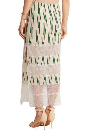 WES GORDON Lace-paneled printed crepe skirt