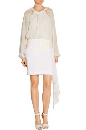 PRABAL GURUNG Jacquard and silk-chiffon mini skirt