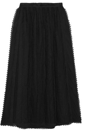 REDValentino Lace-trimmed tulle midi skirt