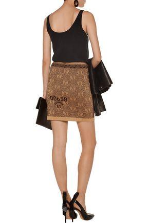 MOSCHINO Metallic jacquard-knit mini skirt
