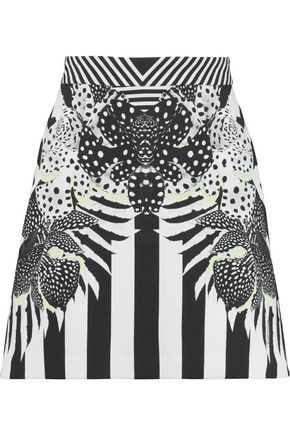 JUST CAVALLI Printed stretch-crepe mini skirt