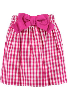 REDValentino Bow-embellished gingham taffeta mini skirt