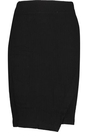 SPLENDID Wrap-effect ribbed jersey mini skirt