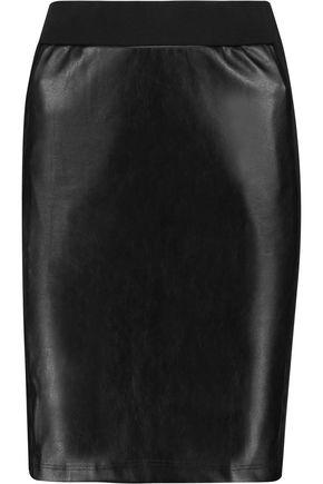 SPLENDID Faux leather and stretch cotton and modal-blend jersey mini skirt