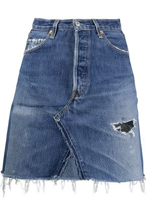 RE/DONE Frayed leather-paneled denim skirt