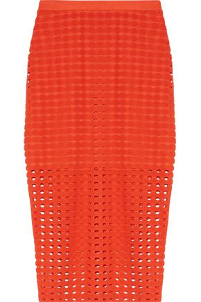 T by ALEXANDER WANG Laser cut stretch-jersey skirt