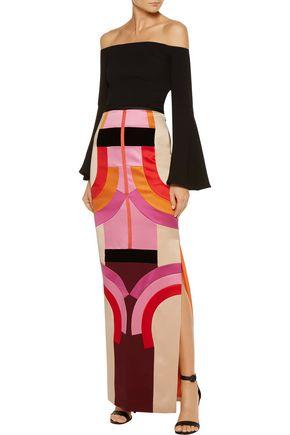 TOM FORD Velvet-trimmed color-block silk-satin maxi skirt