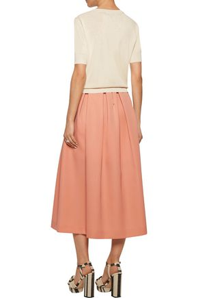 ROCHAS Pleated wool-canvas midi skirt