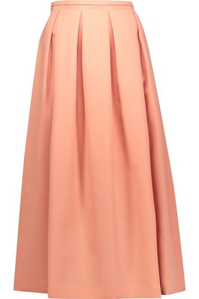 ROCHAS Pleated wool-canvas midi skirt