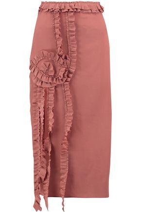 ROCHAS Ruffle-trimmed silk midi dress