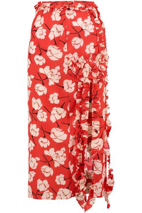 ROCHAS Ruffled floral-print silk midi skirt