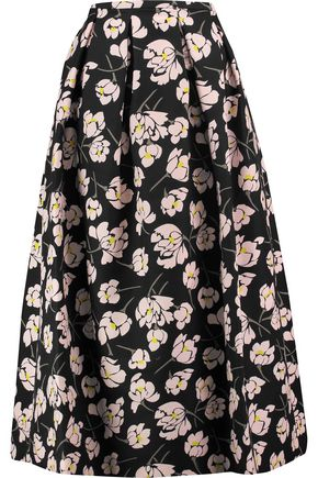 ROCHAS Pleated floral-print cotton midi skirt