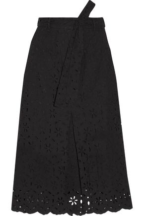 ZIMMERMANN Pavilion pleated broderie anglaise cotton midi skirt