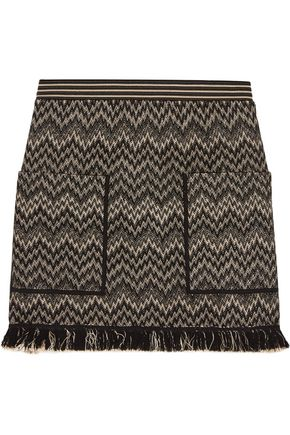 MISSONI Fringed wool-blend crochet-knit mini skirt