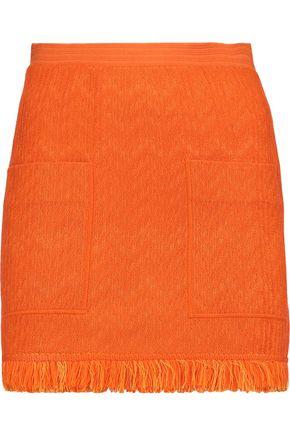 MISSONI Fringed wool-blend crochet-knit mini skirt