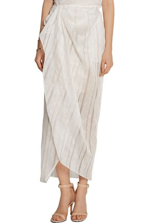 BAJA EAST Wrap-effect linen and silk-blend maxi skirt