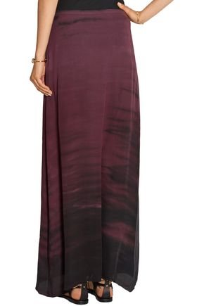 RAQUEL ALLEGRA Sunset tie-dyed washed-silk crepe maxi skirt