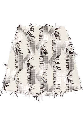 KARL LAGERFELD Fringed piqué mini skirt