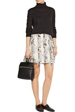 KARL LAGERFELD Fringed piqué mini skirt