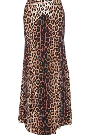 BOUTIQUE MOSCHINO Leopard-print crepe de chine maxi skirt