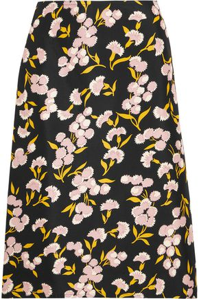 MARNI Floral-print cotton and silk-blend faille skirt
