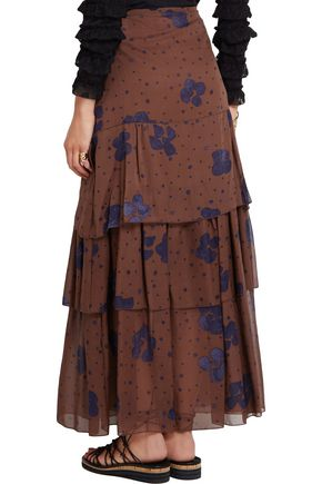 SEE BY CHLOÉ Tiered printed silk-chiffon maxi skirt