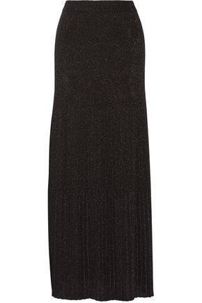 MISSONI Pleated metallic crochet-knit maxi skirt