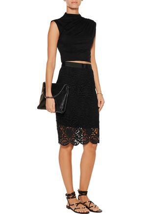 MIGUELINA Scarlet cotton guipure-lace skirt
