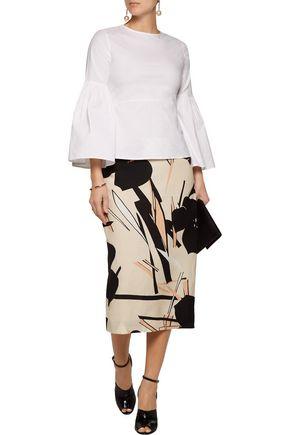MARNI Printed crepe midi skirt