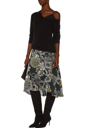 PREEN by THORNTON BREGAZZI Amila asymmetric printed silk-chiffon skirt