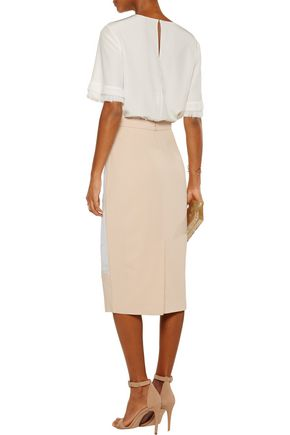 RAOUL Betty crepe-paneled embroidered tulle skirt