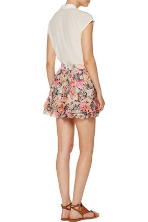 ELIZABETH AND JAMES Laurel floral-print crinkled silk-georgette mini skirt