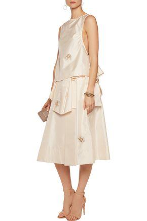 ROCHAS Floral-embroidered silk-blend skirt