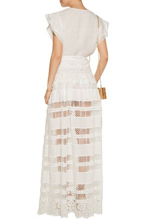 ALEXIS Baxton crocheted cotton maxi skirt