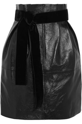 PHILOSOPHY di LORENZO SERAFINI Glossed textured-leather mini skirt