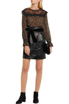 PHILOSOPHY di LORENZO SERAFINI Glossed textured-leather mini skirt