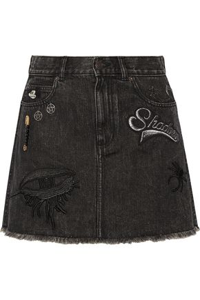 MARC JACOBS Embellished appliquéd denim mini skirt
