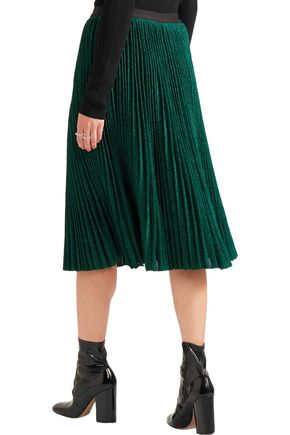 VANESSA BRUNO Flo plissé metallic stretch-knit skirt