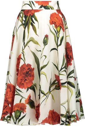 DOLCE & GABBANA Flared floral-print silk-crepe midi skirt
