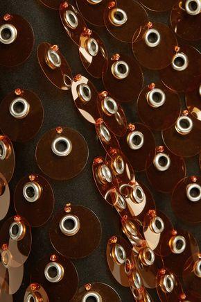 PRADA Eyelet-embellished sequined cotton skirt