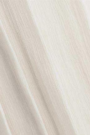 PRADA Pleated silk-gauze midi skirt