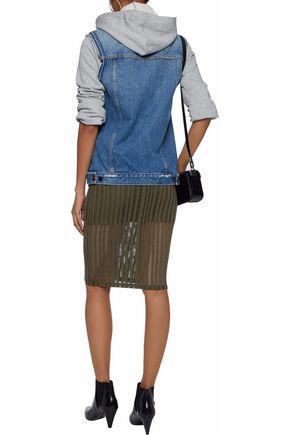 T by ALEXANDER WANG Open-knit stretch cotton-blend jersey skirt