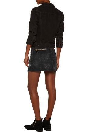 JUST CAVALLI Metallic printed denim mini skirt