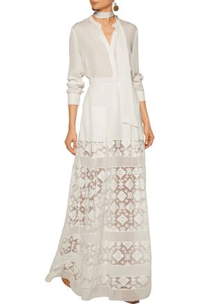 JUST CAVALLI Pleated chiffon and embroidered tulle maxi skirt