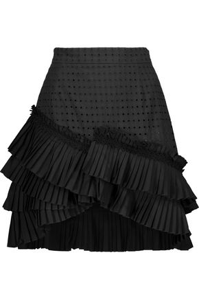JUST CAVALLI Asymmetric pleated poplin and broderie anglaise cotton mini skirt