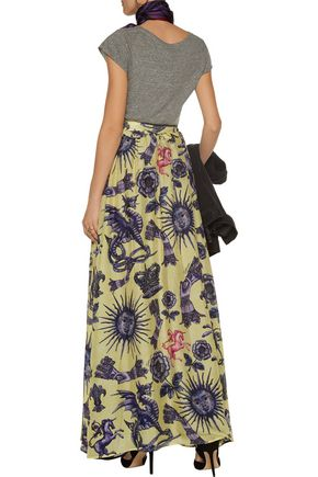 JUST CAVALLI Pleated printed silk-chiffon and linen maxi skirt