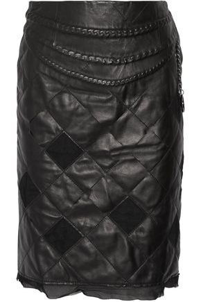 MAISON MARGIELA Chain-trimmed quilted leather and tulle skirt